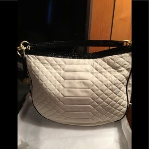 Brahmin cream quilted NWT with black trim